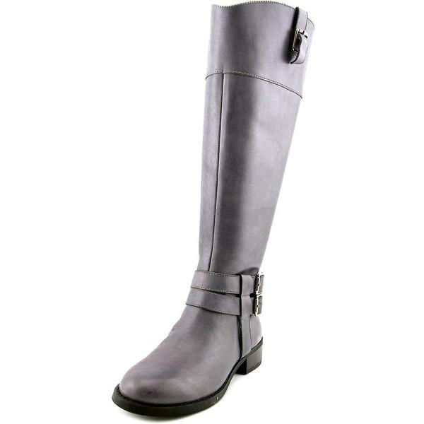 INC International Concepts Fahnee Wide Calf Women Leather Gray Knee High Boot