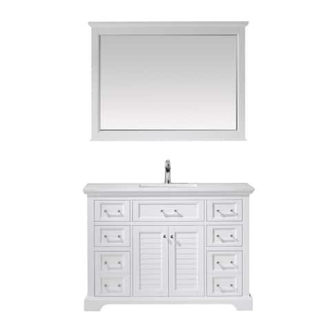 "Lorna 48"" Single Vanity in White and Composite Carrara White Stone Countertop With Mirror"
