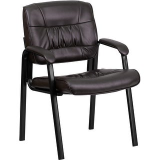 Silkeborg Brown Leather Executive Side Reception Chair w/Black Frame Finish