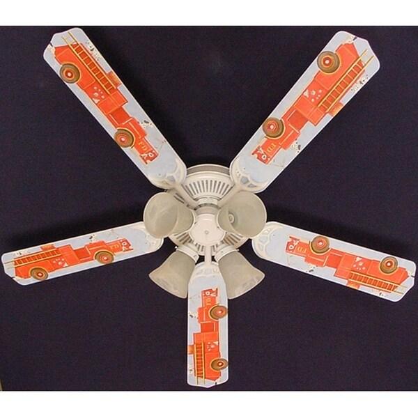 Fire truck Dalmatian Print Blades 52in Ceiling Fan Light Kit - Multi