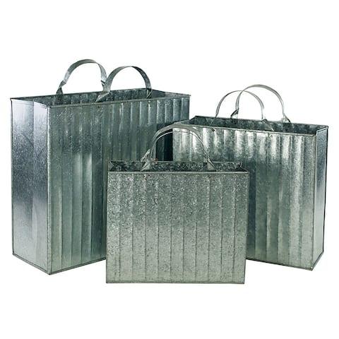 Metal Baskets in Tote Bag Design, Gray, Set of 3