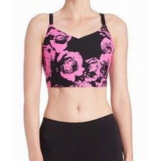 Kensie NEW Pink Black Women's Size XS Floral Print Cutout Sports Bra