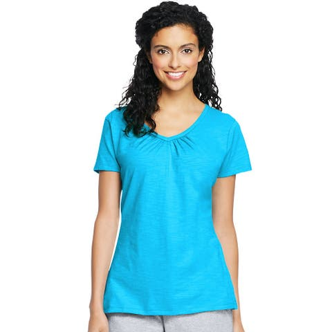 Hanes Women's Slub Jersey Shirred V-Neck - Size - L - Color - Process Blue