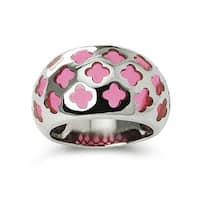 Stainless Steel Women's Ring w/ Pink Resin Inlay