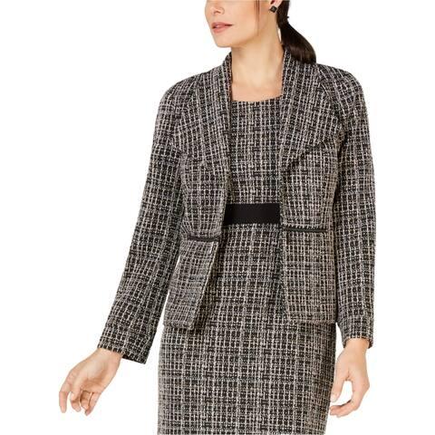 Kasper Womens Tweed Blazer Jacket, Beige, 14