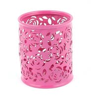 Metal Flower Carved Mesh Style Pen Pencil Holder Container Organizer Fuchsia