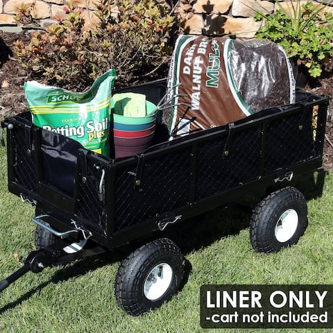 Sunnydaze Heavy-Duty Dumping Utility Cart Liner - Includes Liner Only - Black