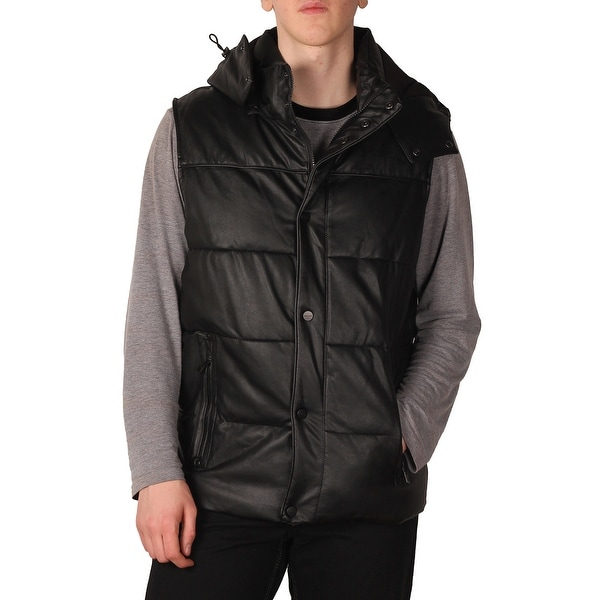 Sean John Men's PU Insulated Hooded Vest