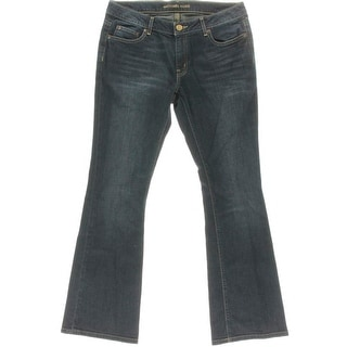 Michael Kors Womens Petites Denim Mid-Rise Bootcut Jeans