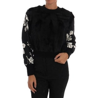 Dolce & Gabbana Black Fur Floral Brocade Zipper Sweater - it36-xs