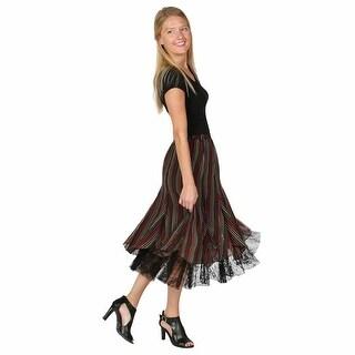 Women's Maxi Peasant Skirt - Colorful Lace-Peek Georgette Striped Dress