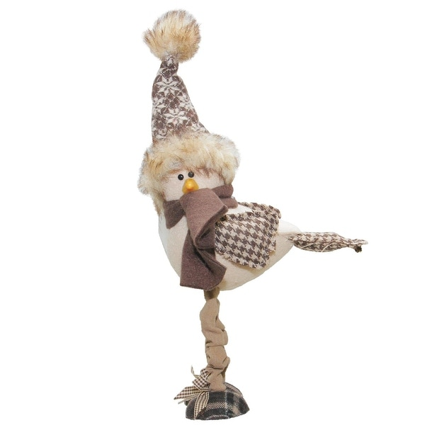 "7.75"" Standing Bird with Nordic Inspired Hat Tabletop Decoration"