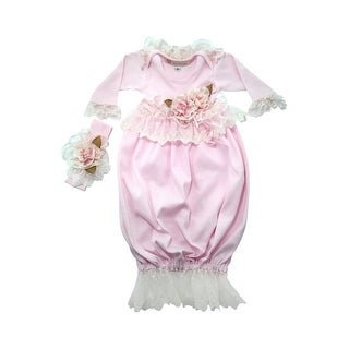 Nick and Nellie Baby Girls Pink Blush Ivory Lace Accented Cotton Gown