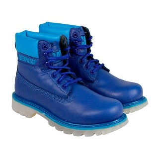 CAT Colorado Mens Blue Leather Boots Lace Up Casual Dress Shoes