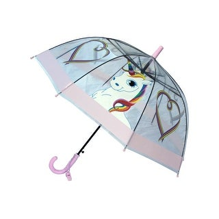 Foxfire Girls Lilac Multi Clear Dome Rainbow Unicorn Heart Print Umbrella 29""