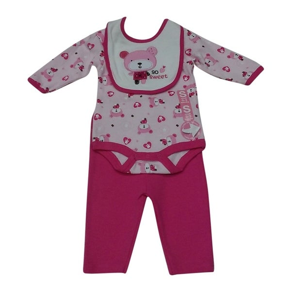 Bon BeBe Baby Girls Fuchsia Pink Teddy Bear Bodysuit Bib Pants Outfit