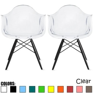 2xhome Set Of 2  Plastic Chairs Patchwork Fabric Wood Dining Chair