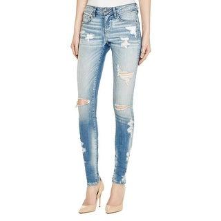 Hidden Jeans Womens Amelia Skinny Jeans Destroyed Light Wash