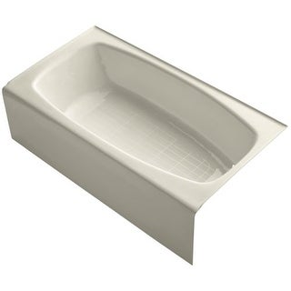 "Kohler K-520 Dynametric Collection 60"" Cast Iron Soaking Bathtub with Right Hand Drain"