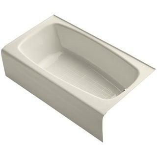 "Kohler K-746 Seaforth 54"" Enameled Cast Iron Soaking Bathtub for Alcove Installations with Right Drain"