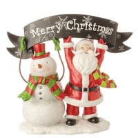 "10.5"" Red and White Snowman and Santa Claus with ""Merry Christmas"" Banner Table Top Decoration"