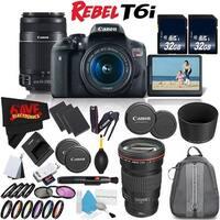 Canon Rebel T6i DSLR Camera w/ 18-55mm Lens International Version (No Warranty) + Canon EF-S 55-250mm Lens + Accessories Bundle