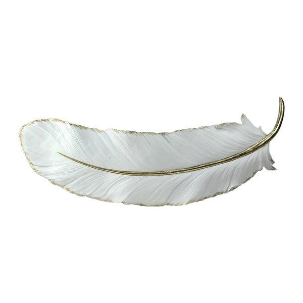 "22"" Gilded White Feather Shaped Christmas Wall Decor"