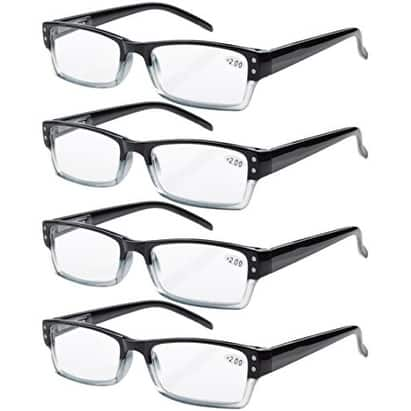 Eyekepper 4-pack Spring Hinges Rectangular Reading Glasses Readers Black +0.75