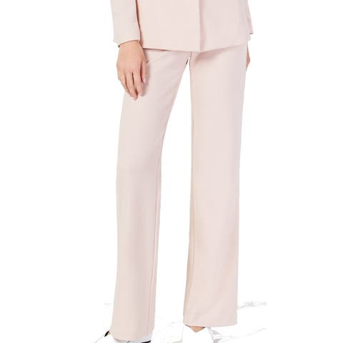 INC Women's Dress Pants Blush Pink Size 0 Wide Leg Crepe Stretch