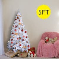 Costway 5Ft Artificial PVC Chrismas Tree W/Stand Holiday Season Indoor Outdoor White