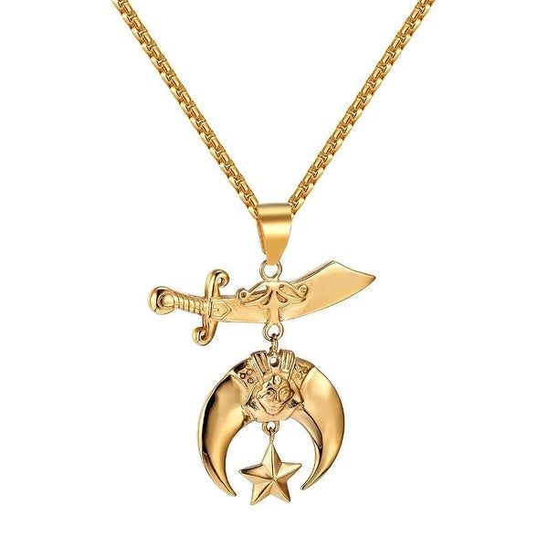 """Shriners Pendant 14k Gold Tone Charm Stainless Steel 24"""" Box Necklace Mason"""