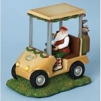 "7.5"" Vibrantly Colored Lighted Musical Santa Claus in Golf Car Christmas Figure - RED"