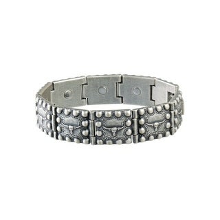 Sabona Jewelry Mens Bracelet Steer Head Beaded Magnetic Silver 229