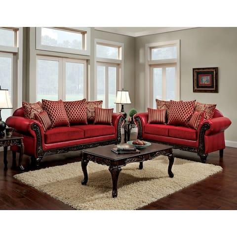 Furniture of America Britz Traditional Red 2-piece Sofa Set