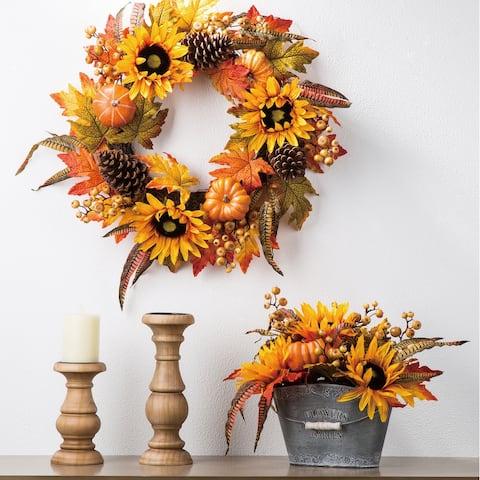 "Glitzhome 24""D Yellow Orange Sunflower Wreath"
