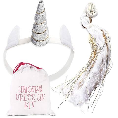 Girls Unicorn Dress-up Kit, Sliver Horn and a White Gold Tail in Drawstring Bag