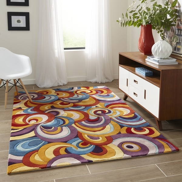 "Momeni New Wave Multicolor Hand-Tufted and Hand-Carved Wool Runner Rug - Multi - 2'6"" x 12' Runner"
