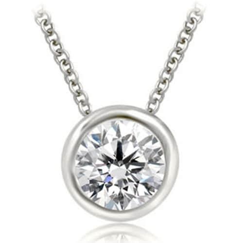 0.25 cttw. 14K White Gold Round Cut Diamond Solitaire Bezel Pendant - White H-I