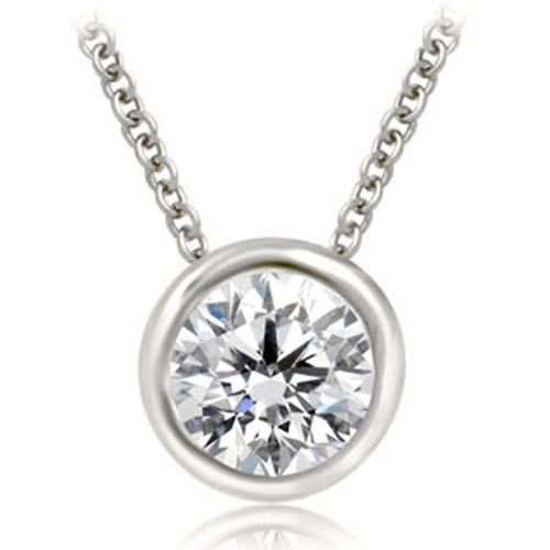 0.75 cttw. 14K White Gold Round Cut Diamond Solitaire Bezel Pendant - White H-I