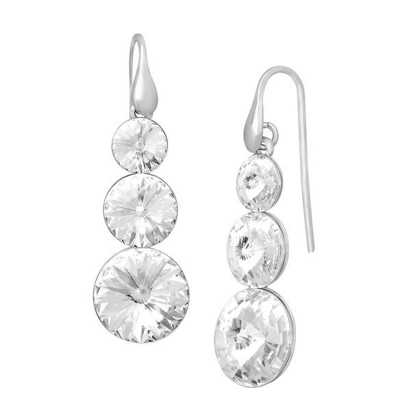 Crystaluxe Triple Drop Earrings with Swarovski elements Crystals in Sterling Silver