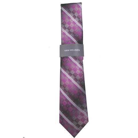 Van Heusen Men's Aaron Stripe Geometric Tie Red Size Regular