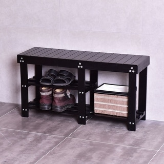 Costway Wooden Shoe Bench Boot Storage Shelf Organizer Seat Entryway Hallway Black