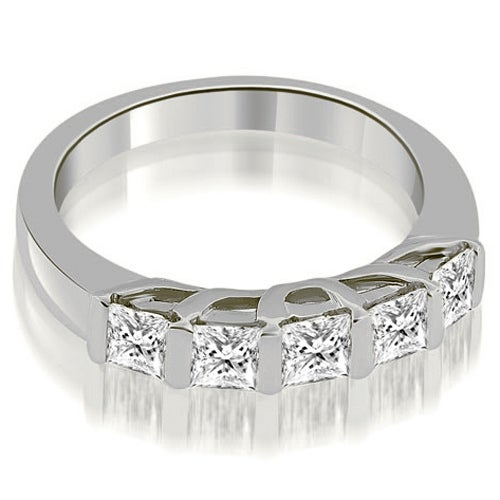 0.70 cttw. 14K White Gold Bar Set Princess Cut Diamond Wedding Band