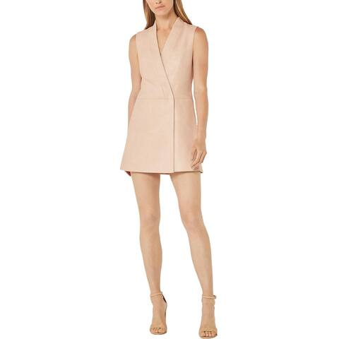 BCBG Max Azria Caryn Women's Faux Leather Mini Wrap Dress