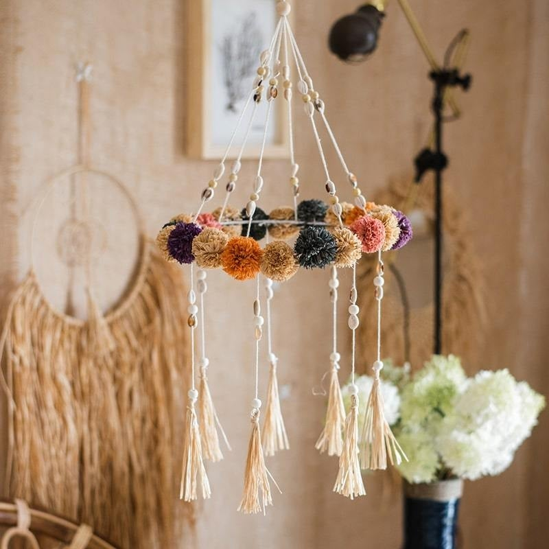 Flower Wind Chime Mobile With Mixed Beads