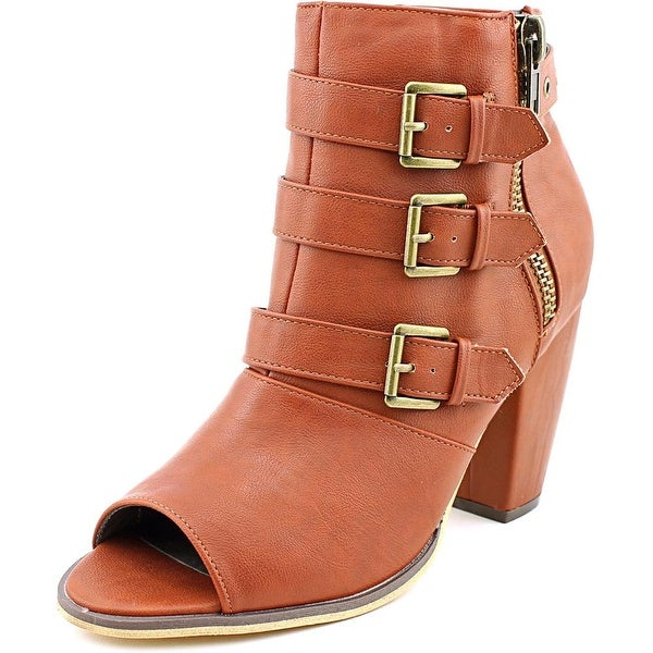 Michael Antonio Maklar Women Peep-Toe Synthetic Brown Ankle Boot