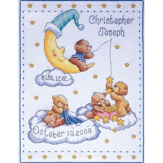 """Bears In Clouds Birth Record Counted Cross Stitch Kit-11""""X14"""" 14 Count"""