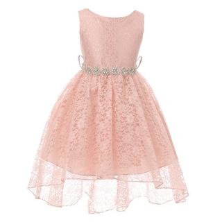 Shop Little Girls Blush Lace Rhinestone Belt Bow High Low