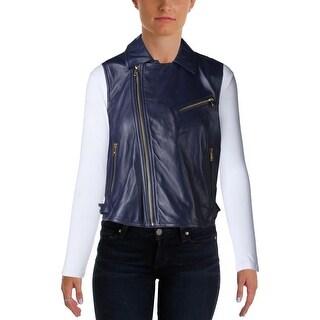Lauren Ralph Lauren Womens Casual Vest Lambskin Leather Zipper - l