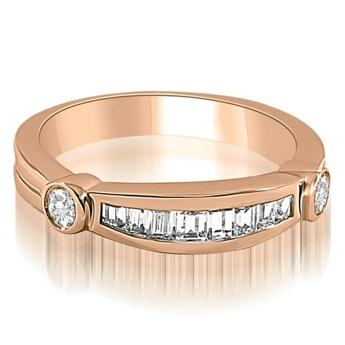 0.60 cttw. 14K Rose Gold Channel Baguette and Round Diamond Wedding Band